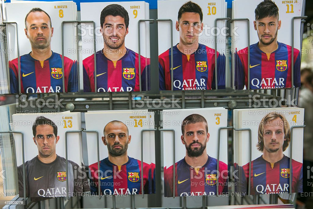 famous football player post cards at barcelona spain stock photo