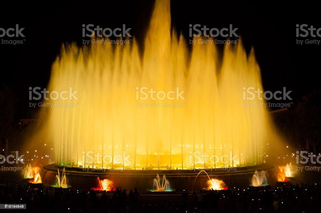 Famous fountains in the Plaza of Spain. Barcelona stock photo