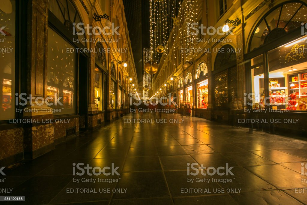 famous  galeries royales st hubert in brussel belgium stock photo