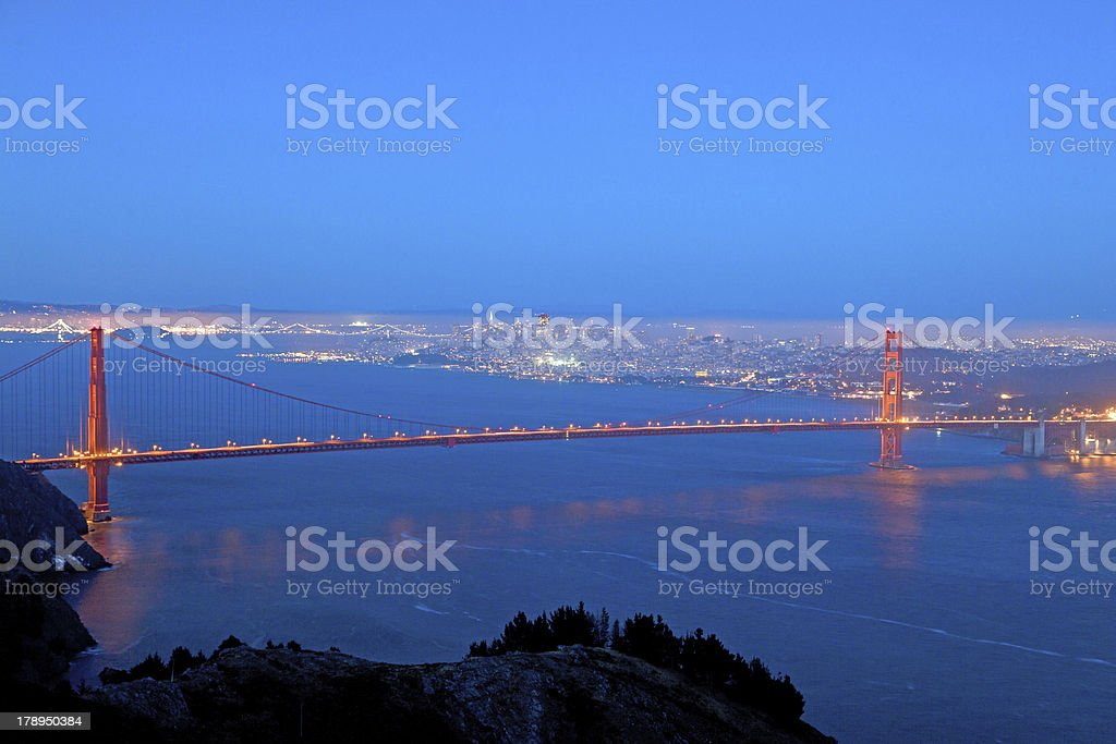 famous golden gate bridge by night royalty-free stock photo