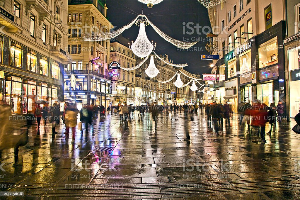 famous Graben street by night stock photo