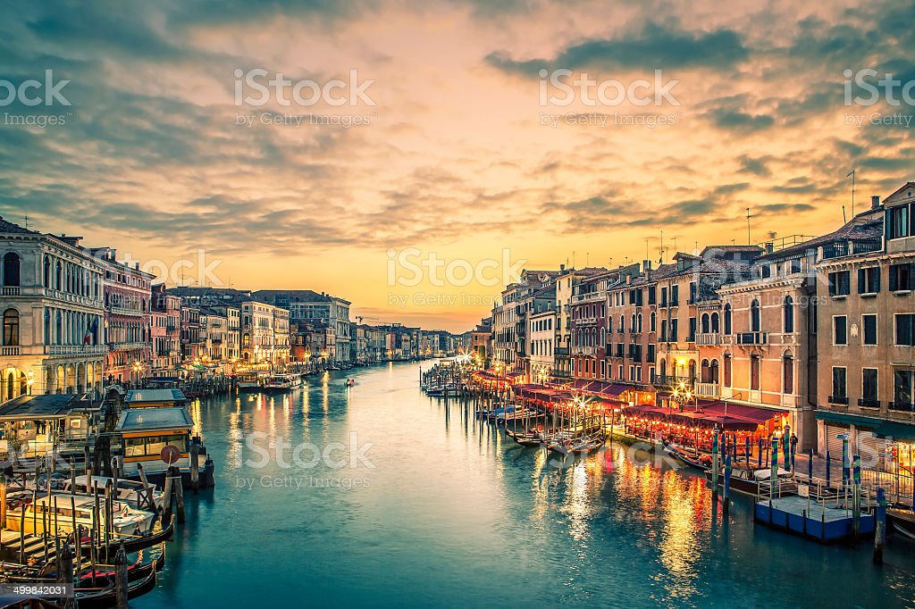 Famous grand canal from Rialto Bridge stock photo