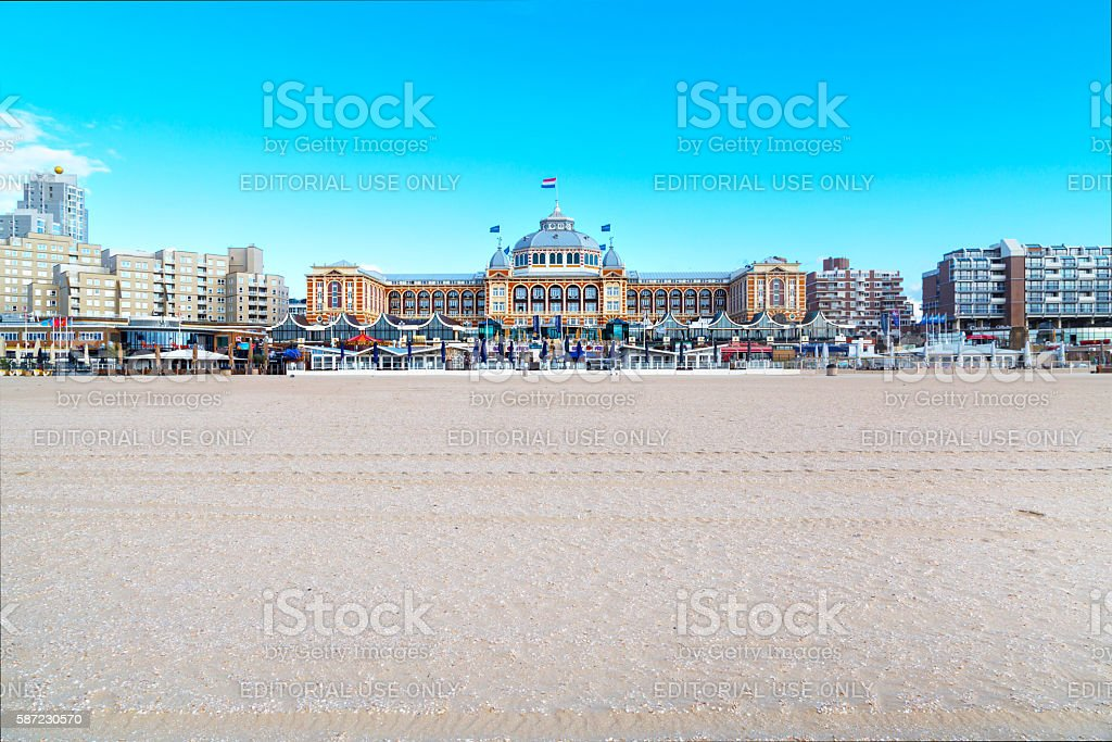 Famous Grand Hotel Amrath Kurhaus and Scheveningen beach panorama, Hague stock photo