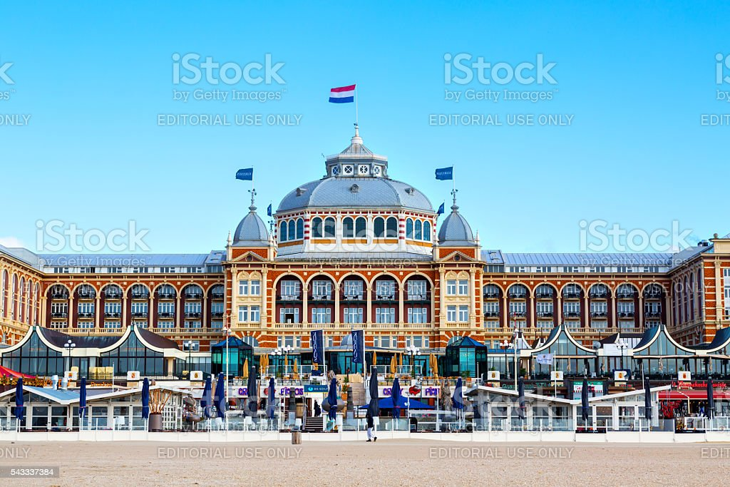 Famous Grand Hotel Amrath Kurhaus at  Scheveningen beach, Hague, Netherlands stock photo