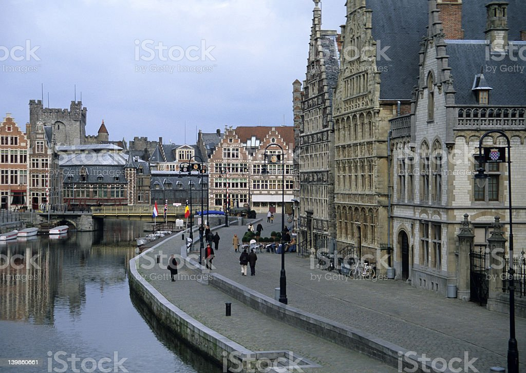 Famous Graslei waterfront in Ghent royalty-free stock photo