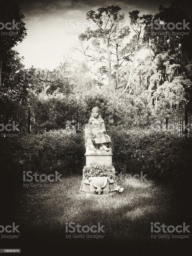 famous gravesite in Bonaventure Cemetery stock photo