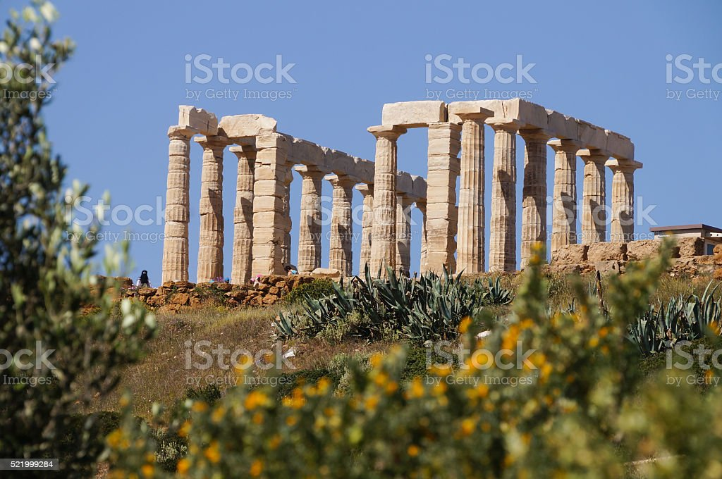 Famous Greek temple Poseidon, Cape Sounion,Greece stock photo