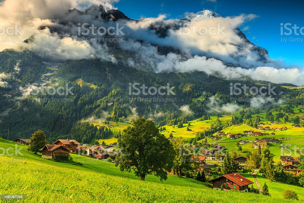 Famous Grindelwald town and Eiger mountains,Bernese Oberland,Switzerland,Europe stock photo