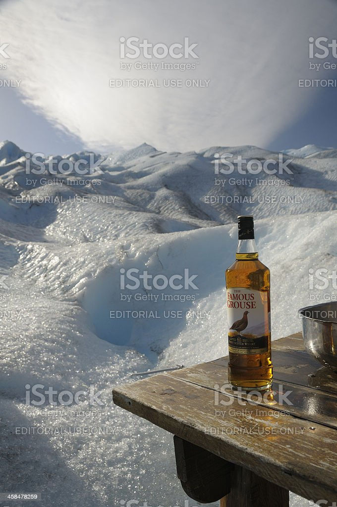 Famous Grouse Whiskey, Perito Moreno Glacier, Calafate, Patagonia, Argentina stock photo
