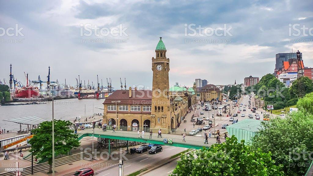 Famous Hamburger Landungsbruecken with harbor, St. Pauli district, Hamburg, Germany stock photo