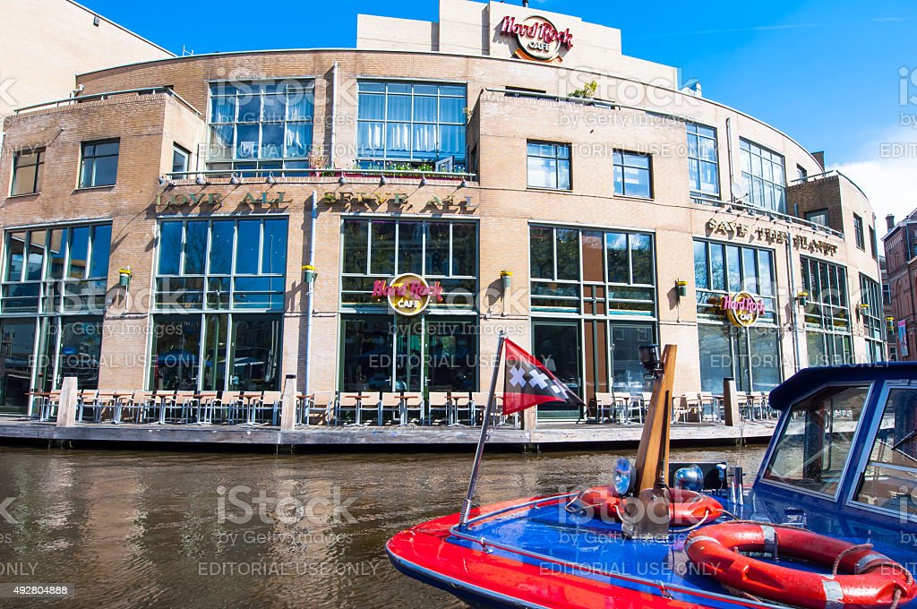 Famous Hard Rock Cafe on the Singelgrachtkering Canal. Amsterdam. stock photo