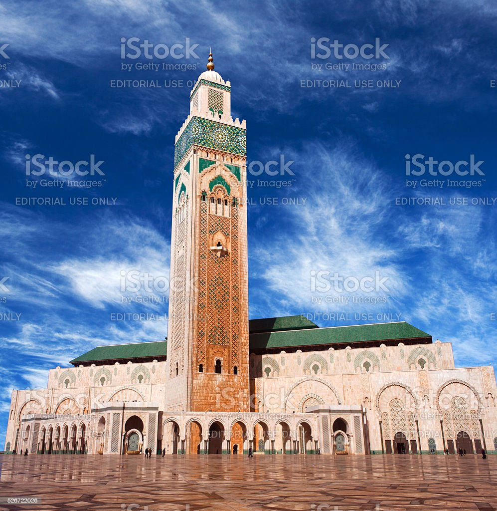 Famous Hassan II Mosque in Casablanca, Morocco stock photo