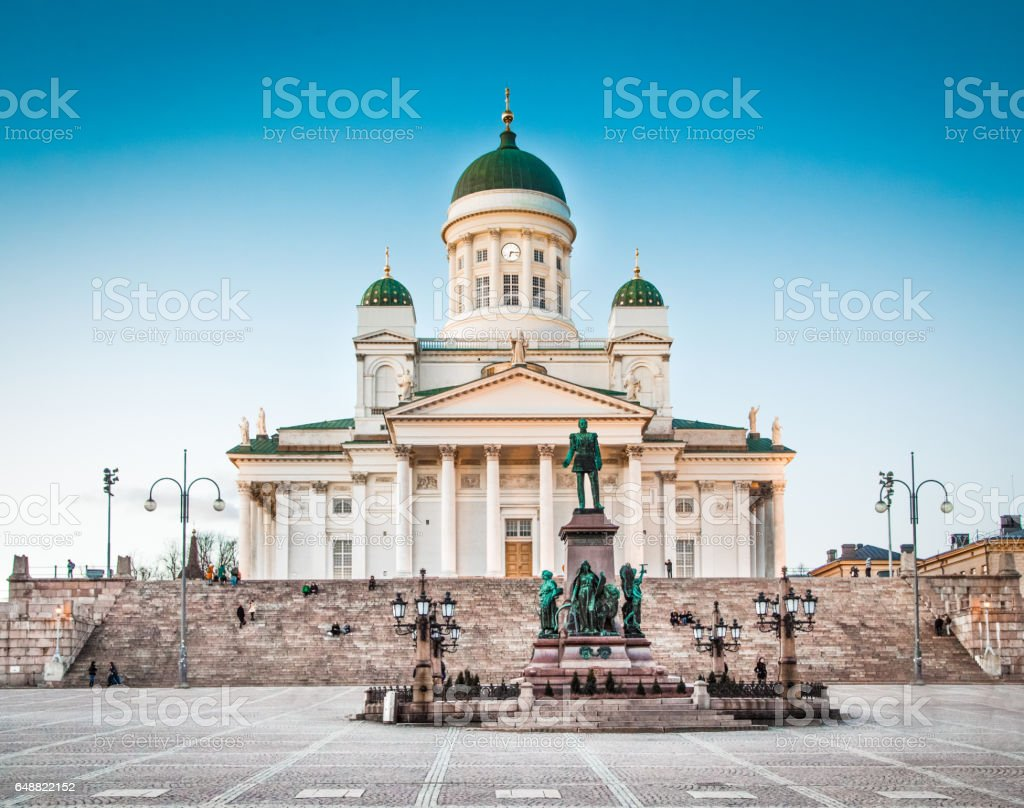 Famous Helsinki Cathedral in evening light, Helsinki, Finland stock photo