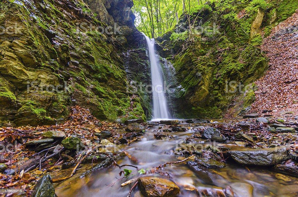 Famous hidden Waterfall deep in rainforest royalty-free stock photo