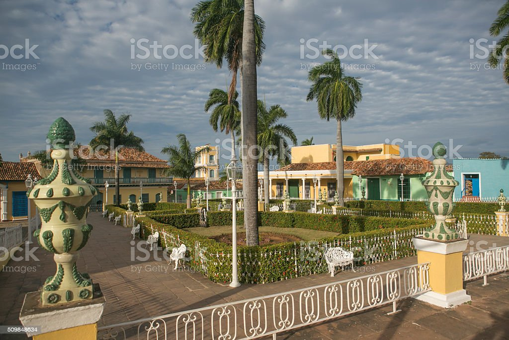 famous historical park at downtown of trininidad cuba stock photo