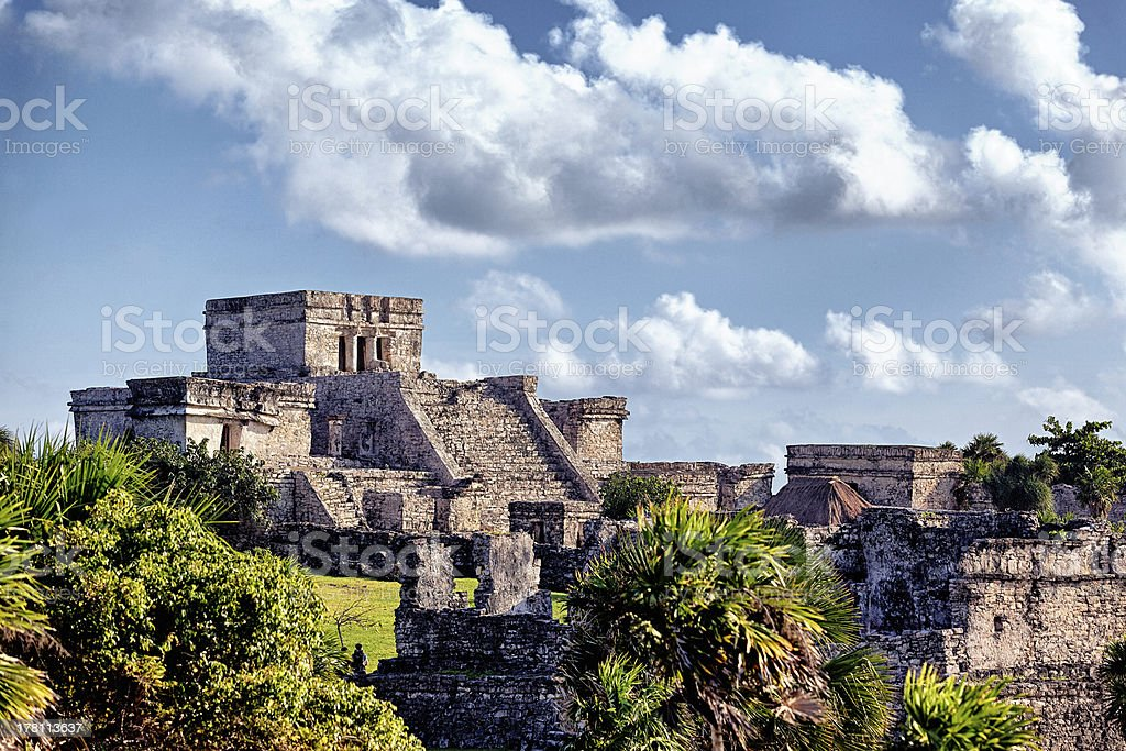 Famous historical ruins of Tulum stock photo