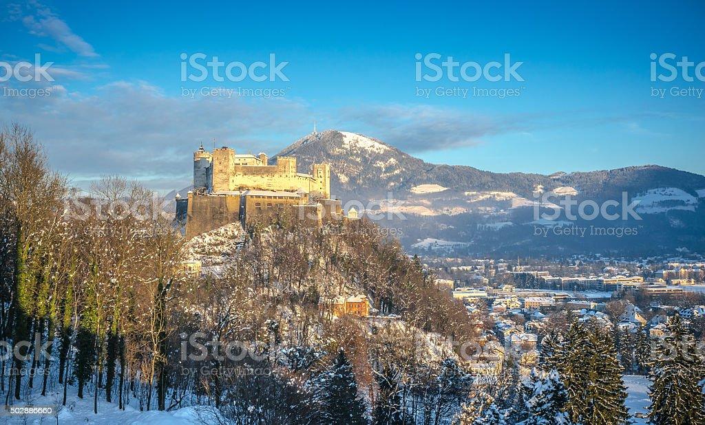 Famous Hohensalzburg Fortress at sunset in winter, Salzburg, Austria stock photo