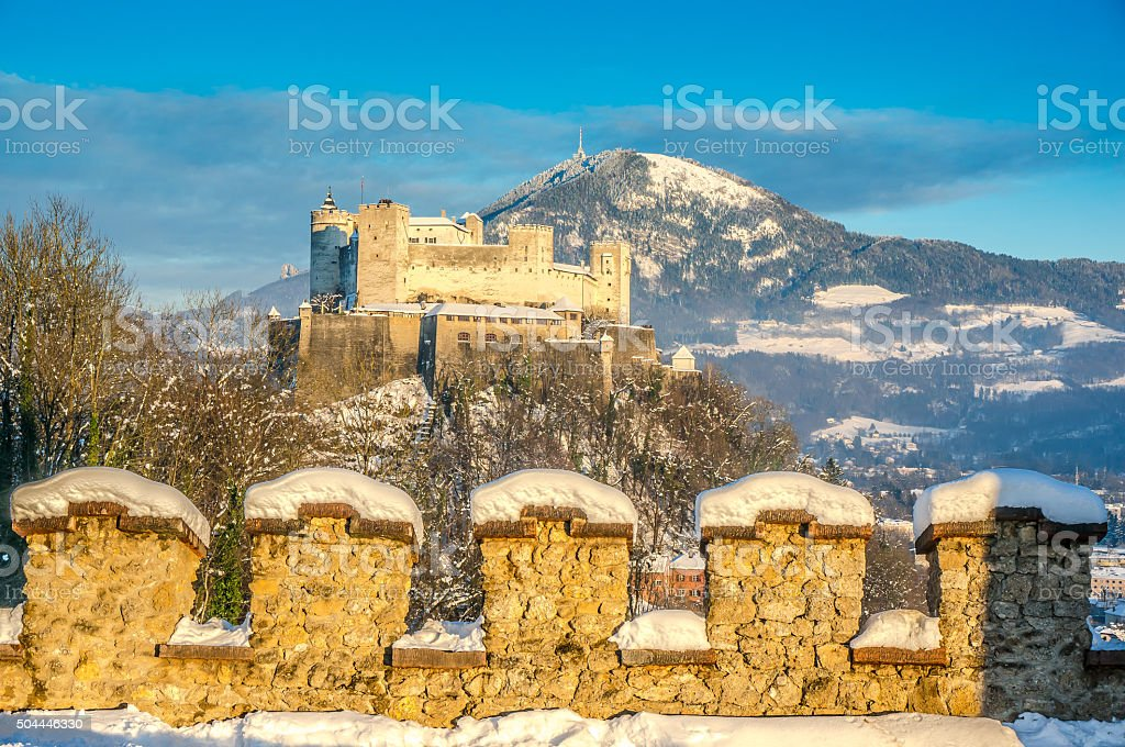 Famous Hohensalzburg Fortress at sunset in winter, Salzburg, Austria stock photo