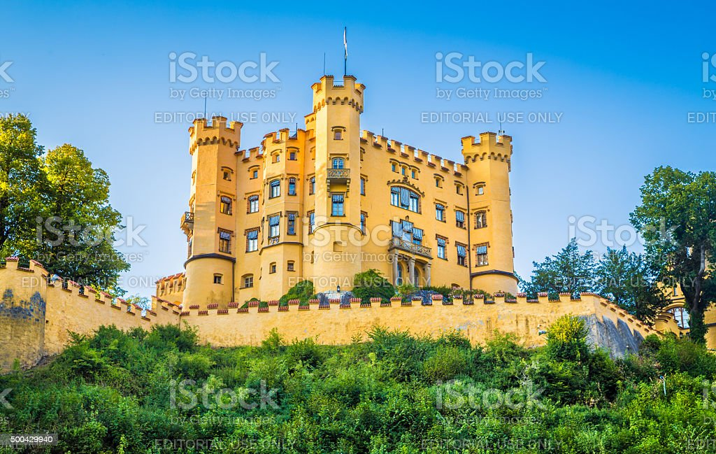 Famous Hohenschwangau Castle near Fussen, Bavaria, Germany stock photo