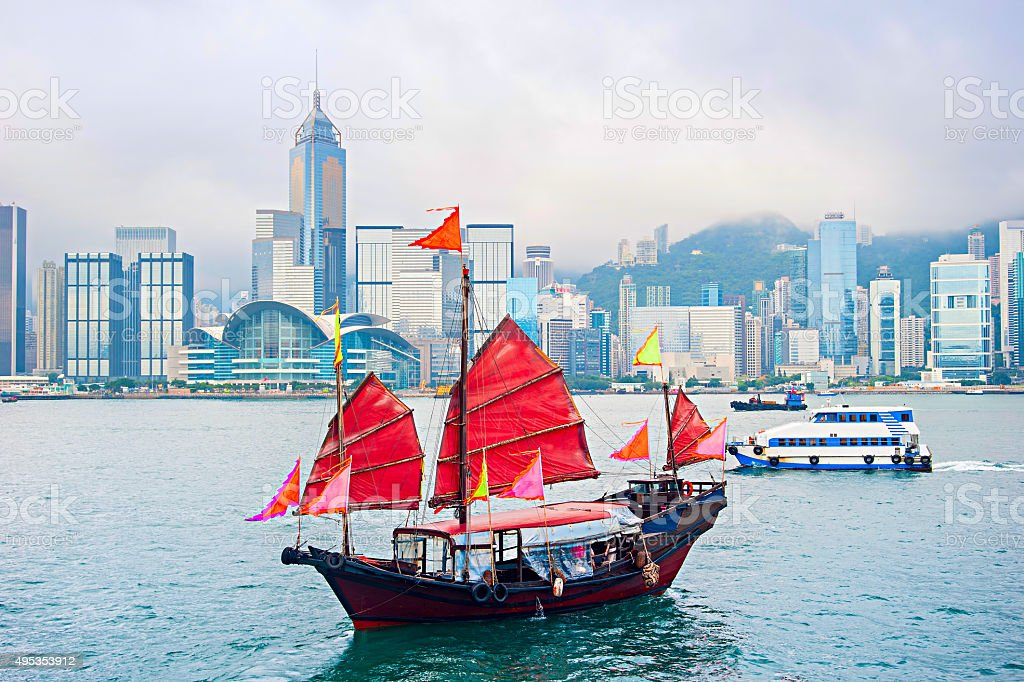 Famous Hong Kong sailboat stock photo