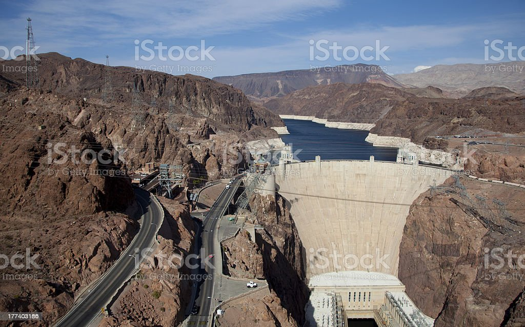 Famous Hoover Dam on the Colorado River and Lake Meade stock photo