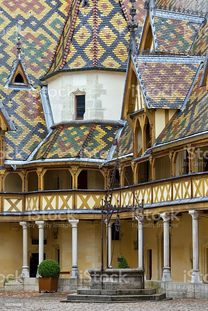 Famous hospice in Beaune, Burgundy, France stock photo
