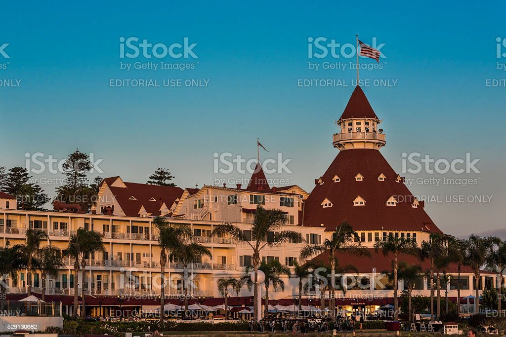 Famous Hotel del Coronado during sunset stock photo