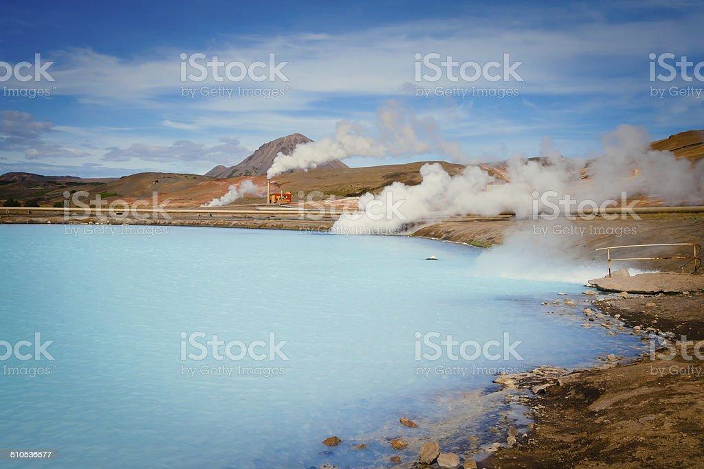 Famous Icelandic Geothermal Site Hverir Hveravellyr and mud pots stock photo