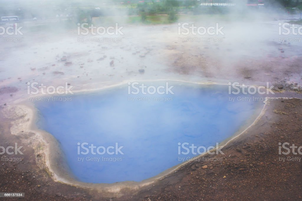 Famous Icelandic Geyser Geysir Strokkur Erupting in Iceland, Thingvellir National Park stock photo