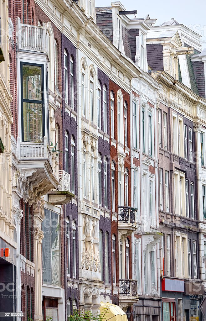 Famous inclined houses in Amsterdam, Netherlands stock photo