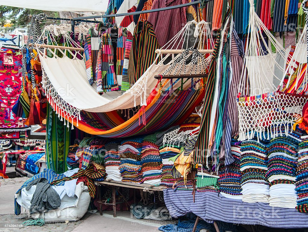 Famous Indian market in Otavalo, Ecuador stock photo