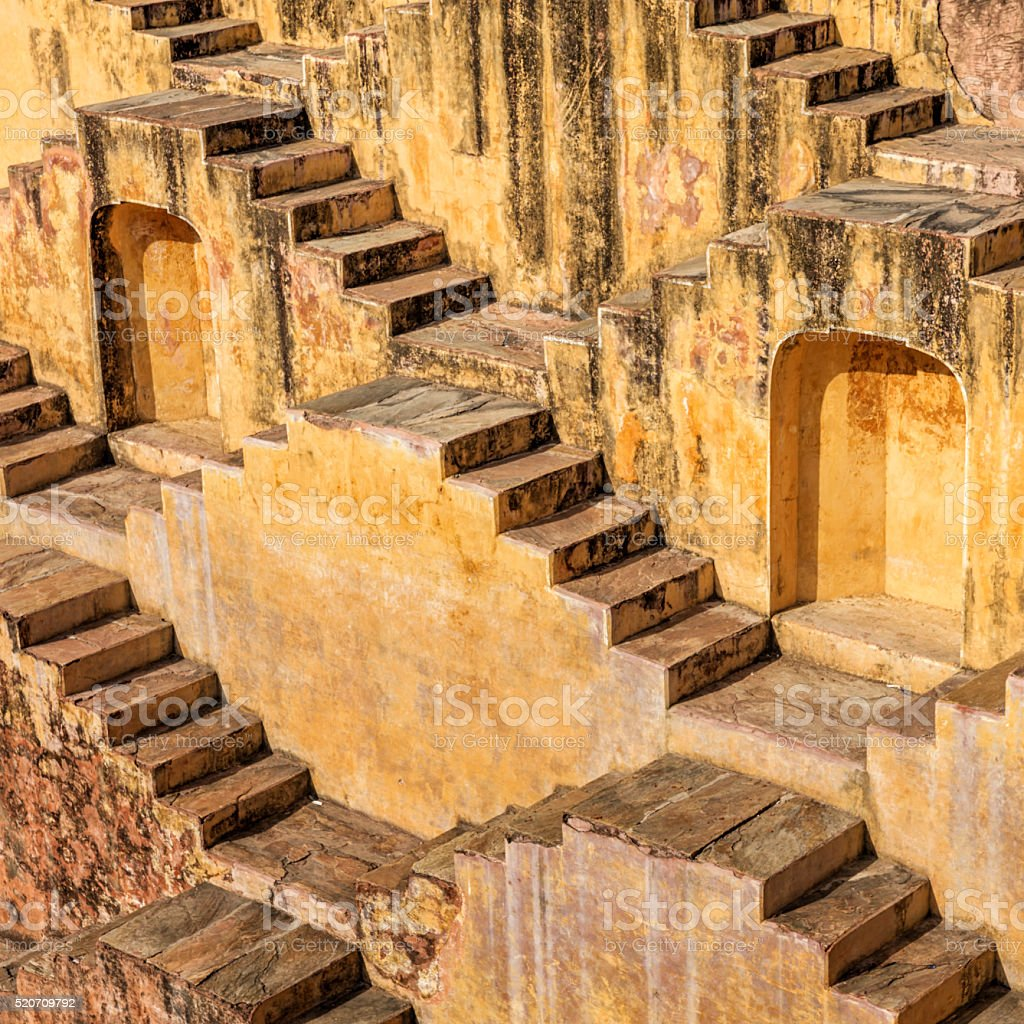 Famous Indian stepwell near Jaipur, Rajasthan stock photo