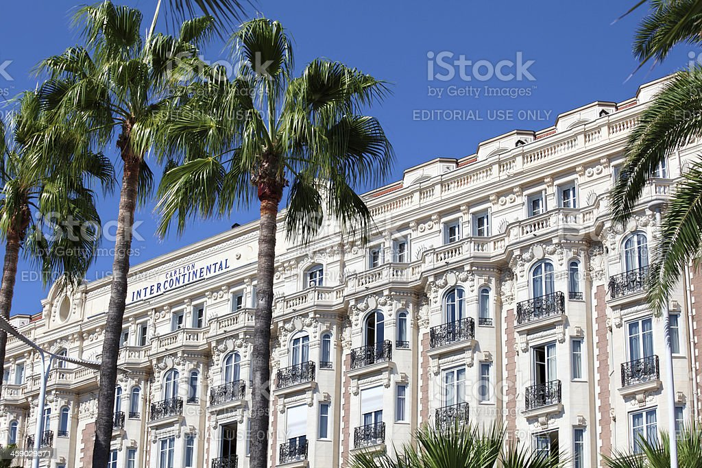 Famous Intercontinental hotel in Cannes, France stock photo