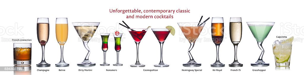 Famous international cocktails stock photo