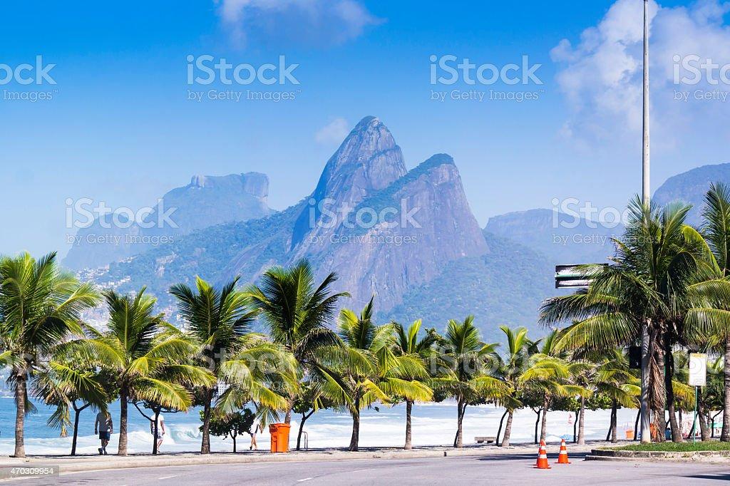 Famous Ipanema beach at Rio de Janeiro, Brazil stock photo