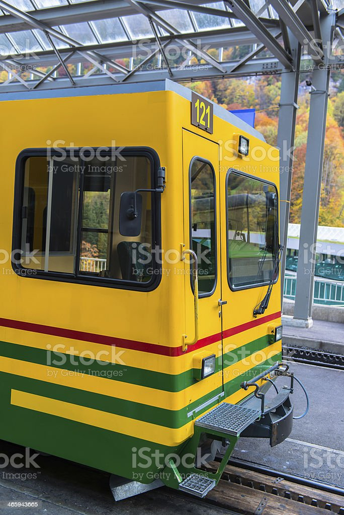 Famous Jungfrau Bahn with Beautiful Mountain View in Sunny Day stock photo
