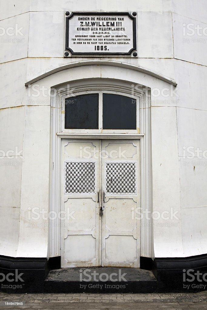 Famous Krakatau lighthouse entrance door stock photo