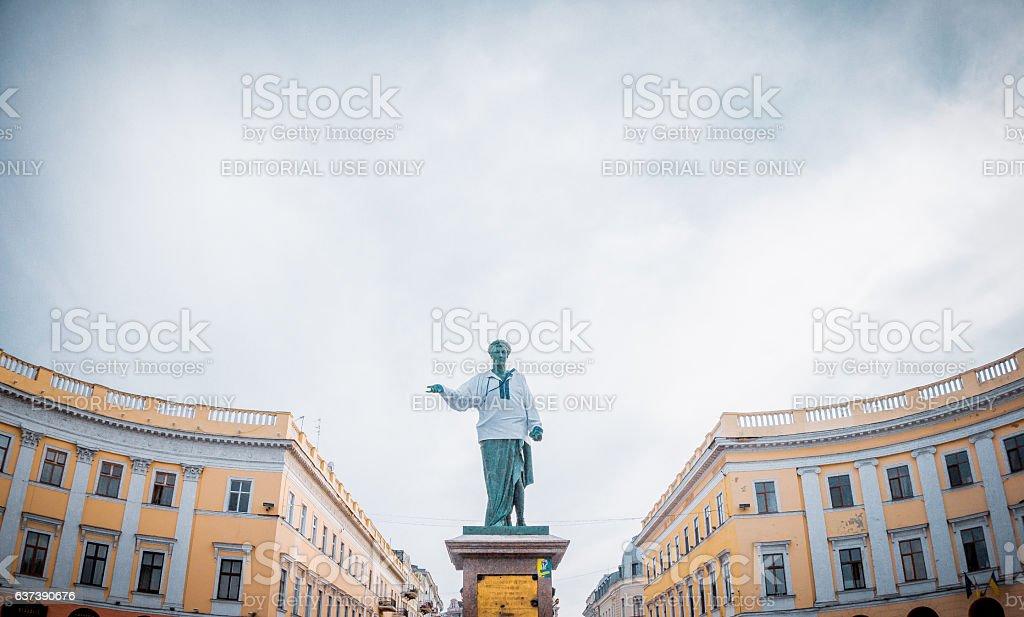 Famous landmark of Odessa. The Statue Of Duke Rishile stock photo