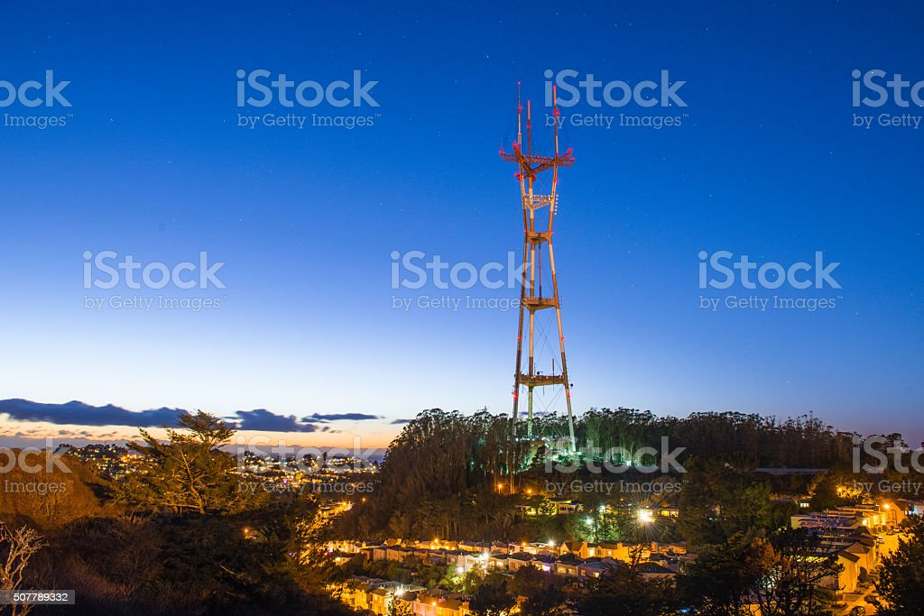 Famous landmark of San Francisco, Sutro TV and radio tower stock photo