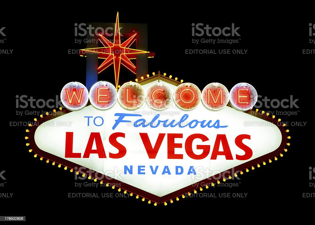 Famous Las Vegas welcome sign lit up stock photo
