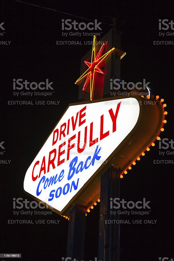 Famous Leaving Las Vegas sign at night royalty-free stock photo