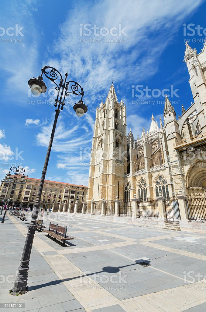 Famous Leon Cathedral, Castilla province, Spain. stock photo