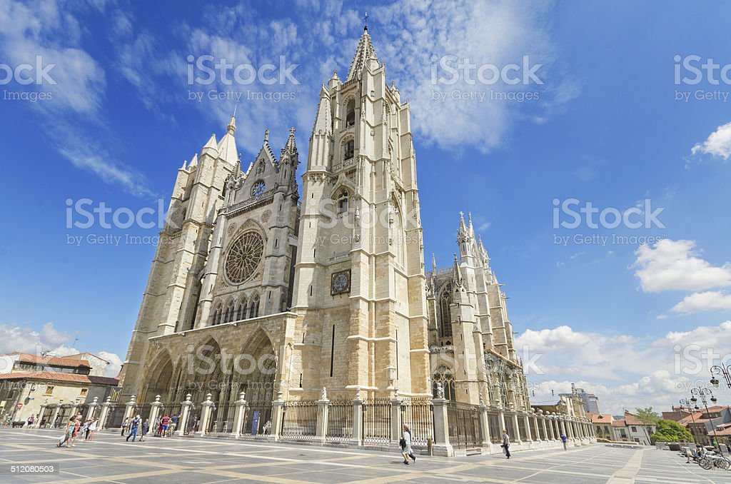 Famous Leon Cathedral, Castilla province, Spain. stock photo