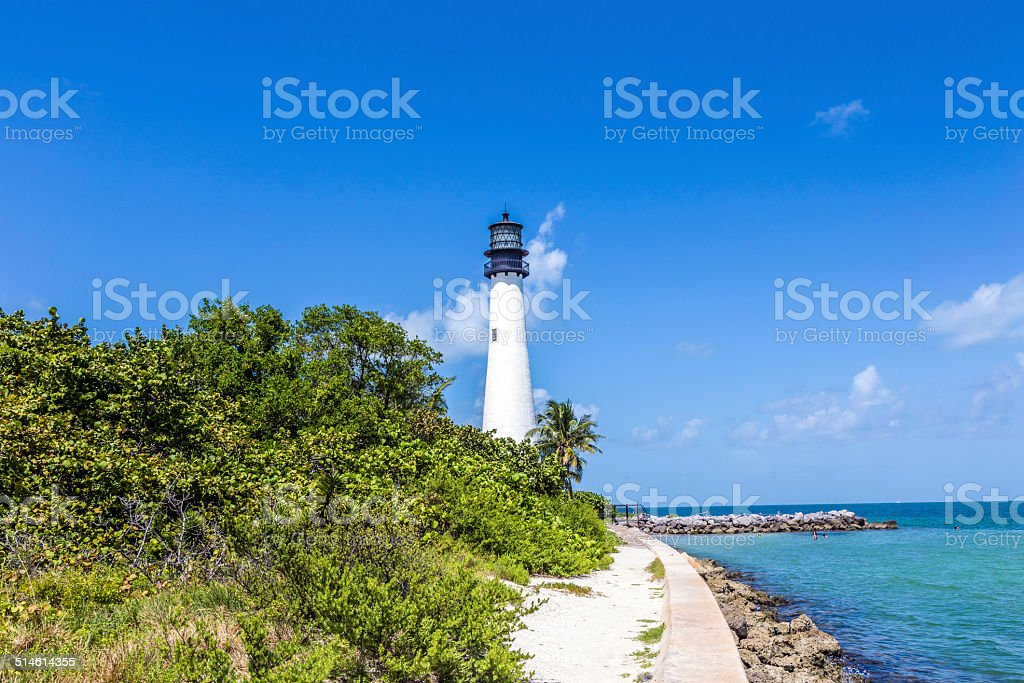 Famous lighthouse at Cape Florida at Key Biscayne stock photo