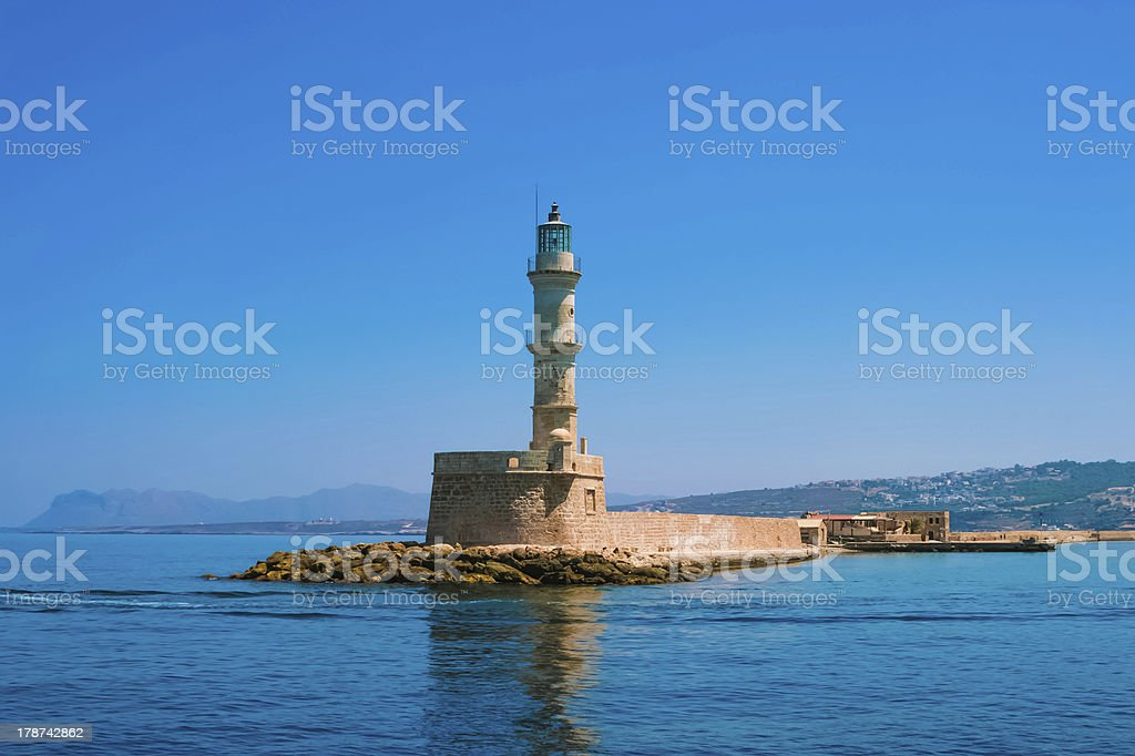 Famous lighthouse in bay of Chania stock photo