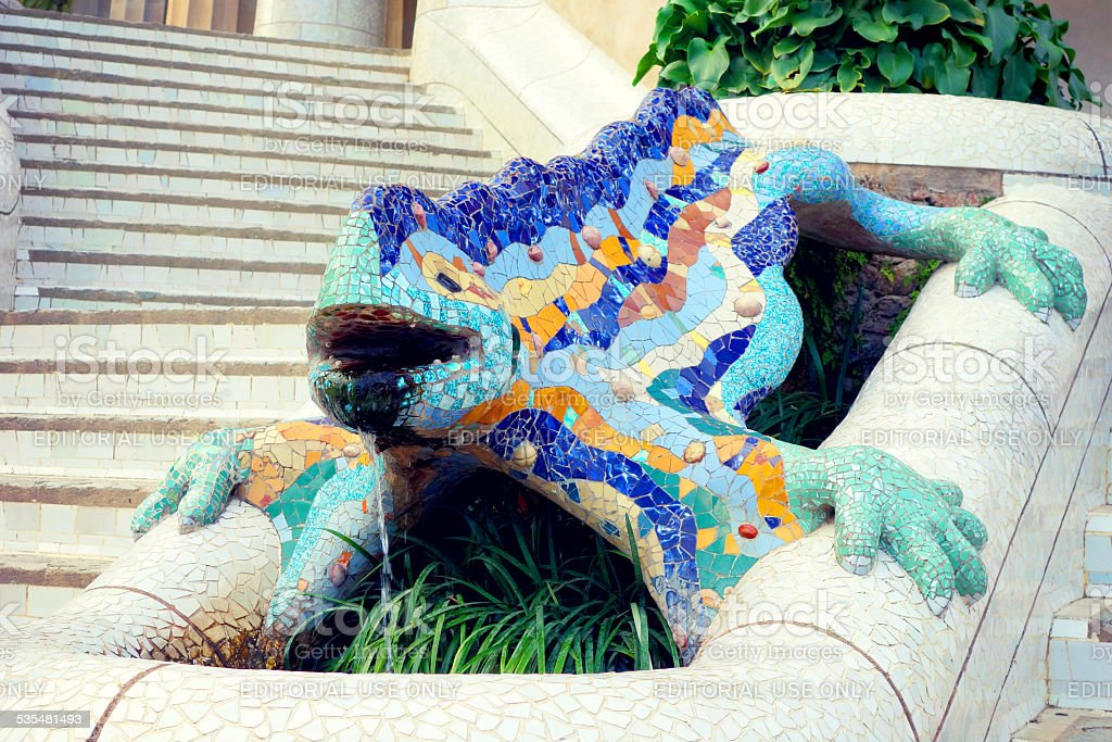 Famous lizard fountain at Park Guell in Barcelona, Spain stock photo