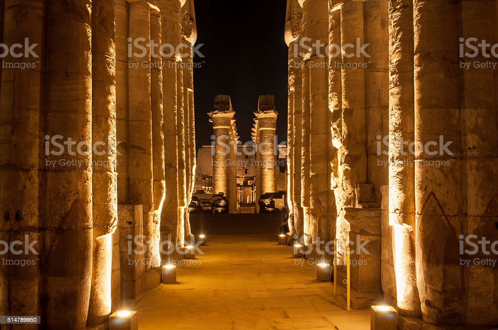 Famous Luxor temple complex at night stock photo