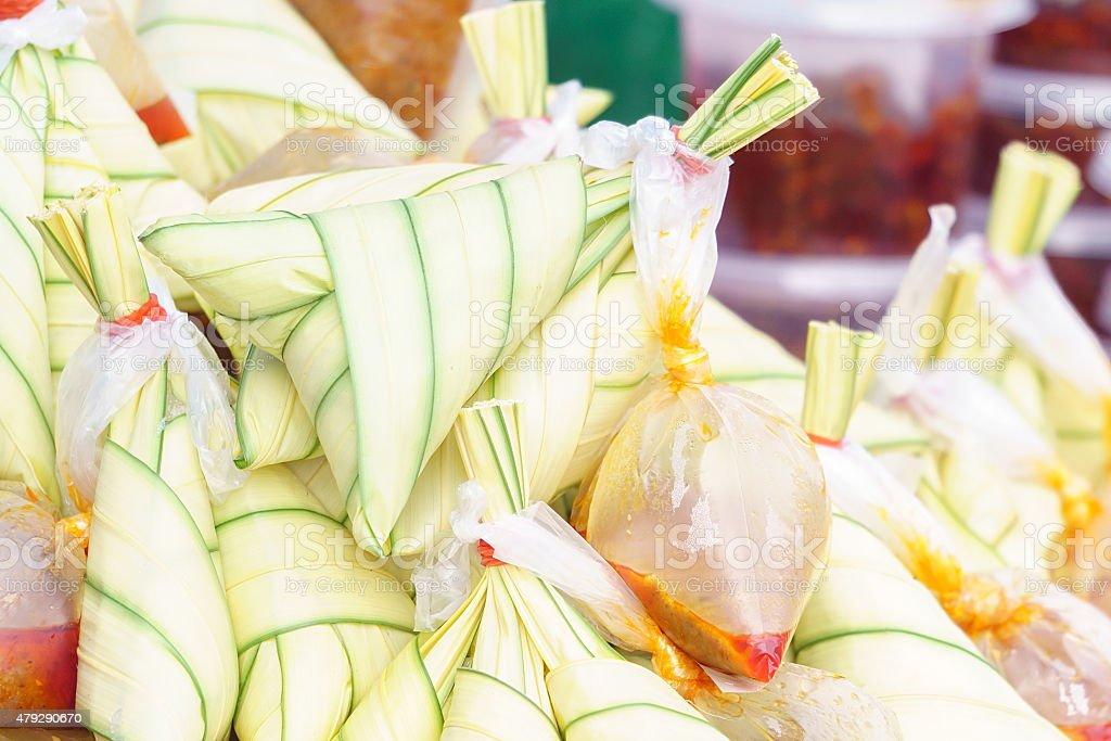 Famous Malaysian food call Ketupat Palas stock photo