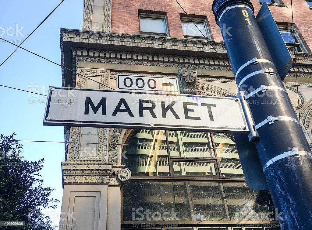 Famous Market Street sign stock photo