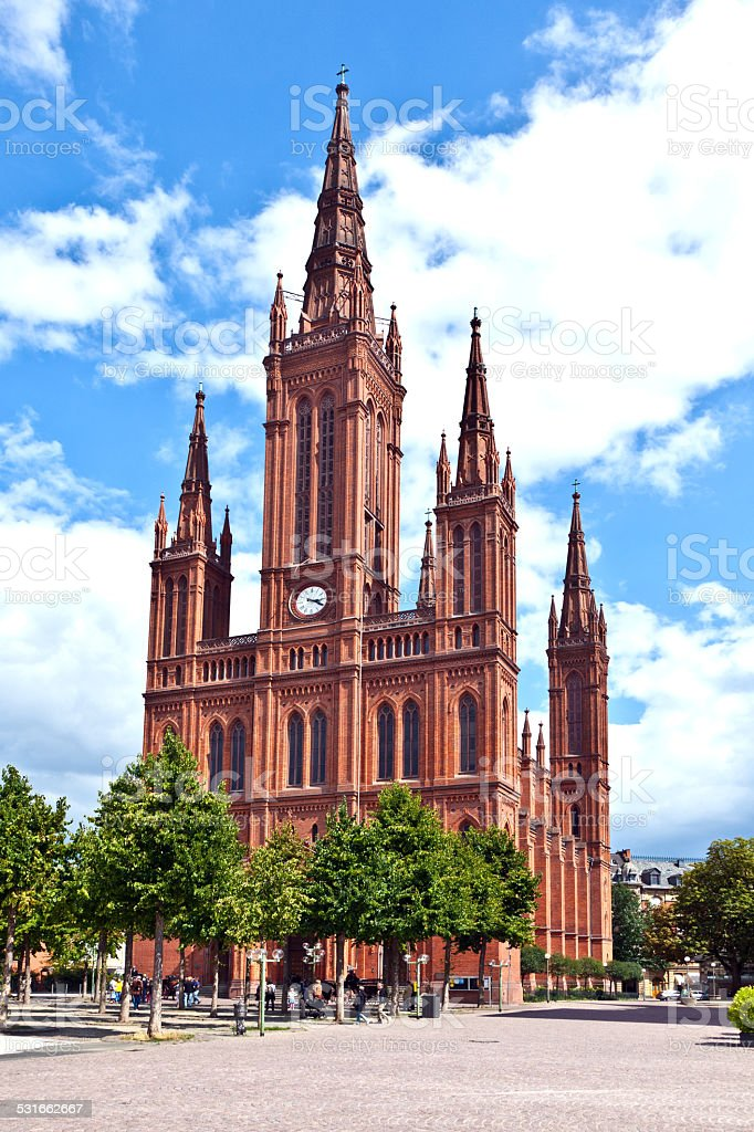 famous Markt Kirche in Wiesbaden stock photo